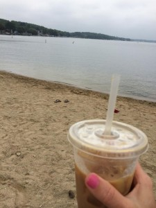 The Lake Country Mom, Rachel drinking iced coffee.