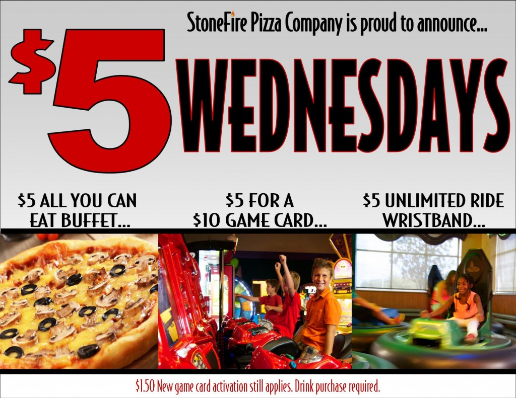 StoneFire Pizza Co $5 Wednesdays