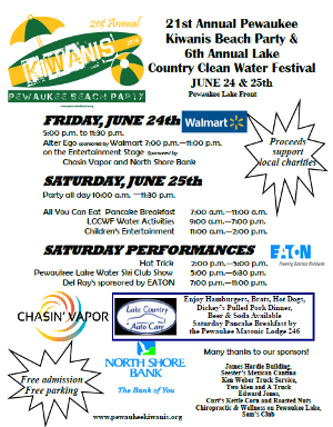 Pewaukee Kiwanis Beach Party | This weekend!